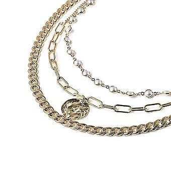 TJC dreischichtige Halskette für Damen 16 '' weiße Kunststoff Perle 0.001ct