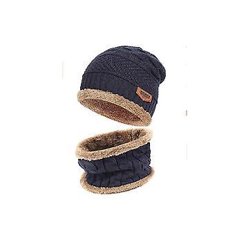 2-кусочки Зимняя Beanie Шляпа шарф Установить теплый вязать шляпу Толстый Руной выстроились