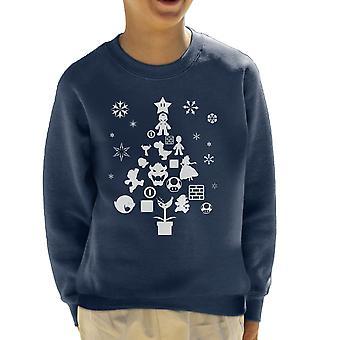 Super Mario Bros Christmas Tree silhouet wit Kid's Sweatshirt