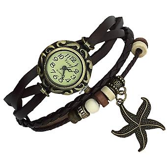 Boolavard® TM Starfish Quartz Fashion Weave Wrap around Leather Bracelet Women Wrist Watch