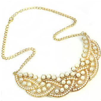 New Vintage Imitation Pearl Hollowed Golden Choker Bib Collar Necklace Boolavard®