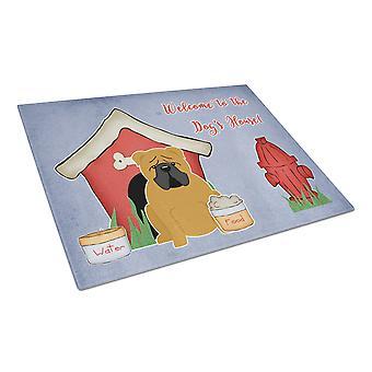 Dog Bulldog House samling engelska rött glas skärbräda stor