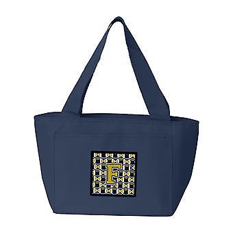 Carolines Treasures  CJ1074-FNA-8808 Letter F Football Blue and Gold Lunch Bag