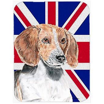 English Foxhound with English Union Jack British Flag Glass Cutting Board Large