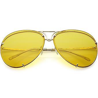 Oversize randlose Pilotenbrille einzigartige doppelte Querstrebe Farbe getönt Objektiv 69mm