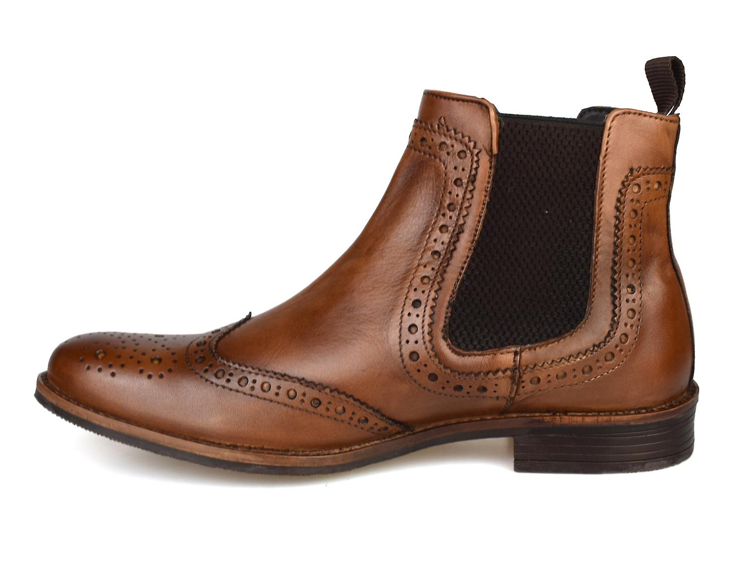 Silver Street Byron Tan Leather Brogue Mens Chelsea Boots - Gratis frakt
