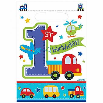 Amscan All Aboard 1st Birthday Boy Loot Bags (Pack Of 8)