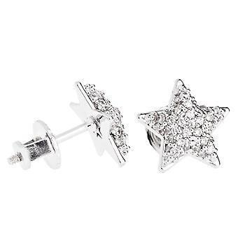 Iced van bling micro pave oorbellen - STAR 10 mm
