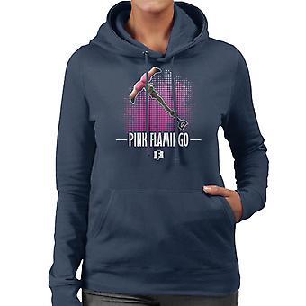 Fortnite ピンクのフラミンゴ レディース フード付きスウェット シャツ