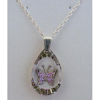 Heather Small Teardrop Butterfly Crystal Pendant