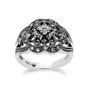 Gemondo Sterling sølv Marcasite klynge Ring