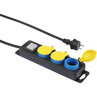 Renkforce 350E-CMB Socket strip (+ switch) 3x Black, Yellow, Blue PG connector 1 pc(s)