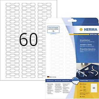 Herma 5116 Labels 49 x 10 mm Paper White 1500 pc(s) Permanent Jewellery labels Inkjet, Laser, Copier