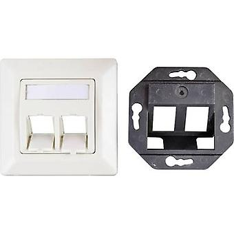EFB Elektronik ET-25086 Network outlet Flush mount Insert with main panel and frame CAT 6A 2 ports Oyster white