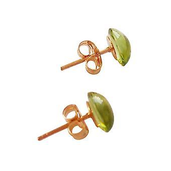 Gemshine - dames - boucles d'oreilles - plaqué or 7 mm - péridot - vert - cabochon-
