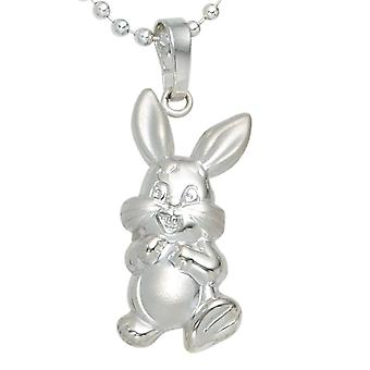Kids pendant rabbit 925 sterling silver rhodium-plated partially frosted children's jewellery