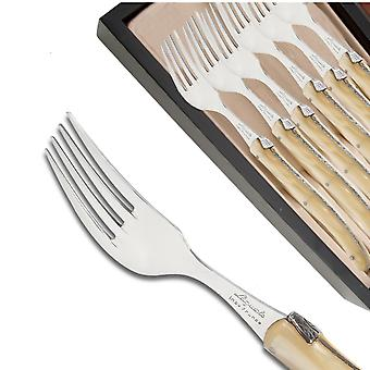 Set of 6 Laguiole forks pearly white plexiglas handles Direct from France