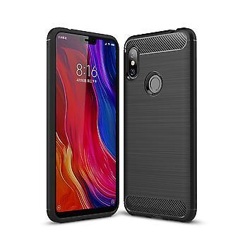 Xiaomi Redmi Note 6 TPU Case Carbon Fiber Optik Brushed Schutz Hülle Schwarz