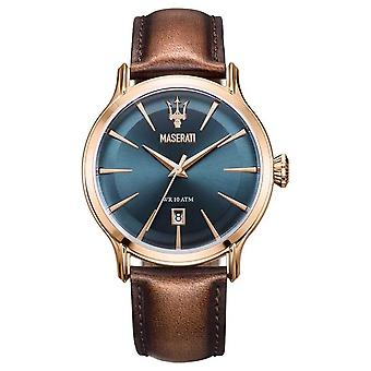Maserati Mens Epoca 42mm | Blue Dial | Brown Leather Strap R8851118001 Watch