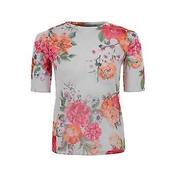 Damen Netz durchschauen Floral Camo Khaki Kurzarm schiere T-Shirt Top