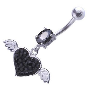 Pancia ombelico Piercing 925 Sterling Silver, gioielli corpo, cuore nero con le ali
