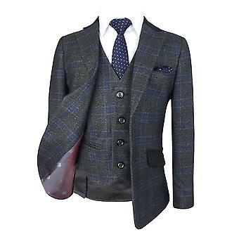 排他的な男の子チェック チャコール グレーの結婚式スーツ