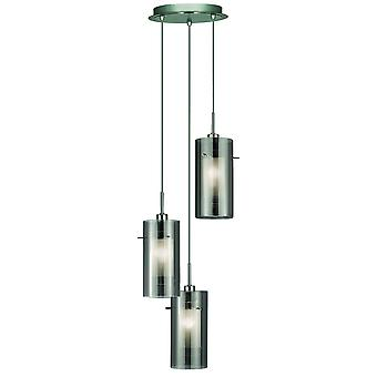 Duo 2 Chrome And Smoked Glass 3 Light Pendant On Plate - Searchlight 2300-3SM