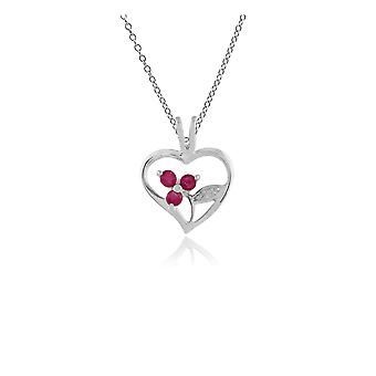Floral Round Ruby Pendant Necklace in 925 Sterling Silver 253P206402925