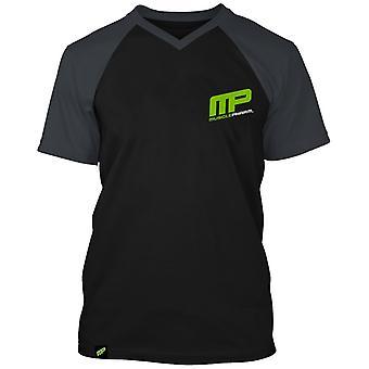 MusclePharm Mens MP Baseball V-neck Raglan T-Shirt - Black/Gray - gym fitness