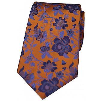 Дэвид ван Хаген цветочные узорной шелковый галстук - оранжевый/синий