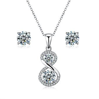 925 Sterling Silver Infinity Pendant Necklace & Stud Earring Set