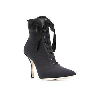 Dolce & Gabbana kvinner lace opp stiletto ankelen støvler sko i svart Tech stoff