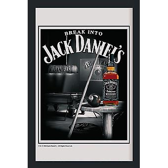 Jack Daniel's XL mirror snooker of printed mirror with black plastic frame in wood.