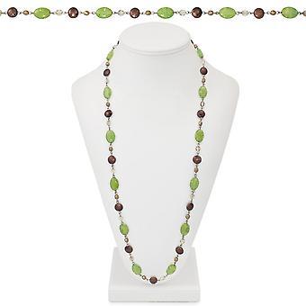 Ewige Sammlung Oregon oliv-grün und braun Kristall 36 Zoll Silber Ton Perlen Halskette