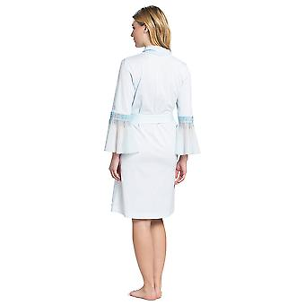 Feraud 3191126-11770 Women's Couture Crystal Blue Cotton Dressing Gown Loungewear Robe