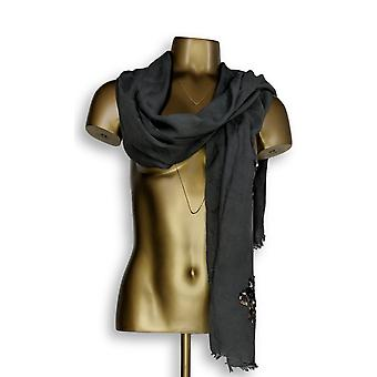 VT Luxe Wrap w/ Sequin Flower Detail Gray Scarf A227837