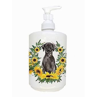 Carolines Treasures  CK2923SOAP Black Labrador Retriever Ceramic Soap Dispenser
