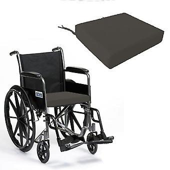 Foam Wheelchair Seat Cushion in Cotton Cover - Grey