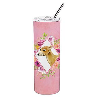 Italian Greyhound Pink Flowers Double Walled Stainless Steel 20 oz Skinny Tumble