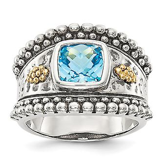 925 Sterling Silver Polished Open back finish With 14k Blue Topaz Ring Jewelry Gifts for Women - Ring Size: 6 to 8