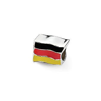 925 plata esterlina esmalte pulido acabado Reflexiones Alemania Bandera Perla Encanto Colgante Collar Joyería Regalos para mujeres