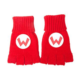 Super Mario Gloves Fingerless Mario Logo nouveau officiel Nintendo Red