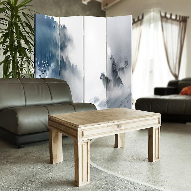 Diviseur de chambre, 4 panneaux, double-sided, 360 rotatable, toile, animaux d'hiver