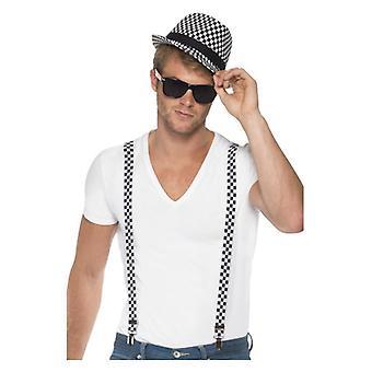 Ska twee Toon onmiddellijke Kit, zwarte & wit, met accolades en Hat Fancy Dress accessoire
