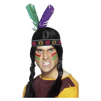Mens indián inspirálta tollas fejpánt Fancy ruha tartozék