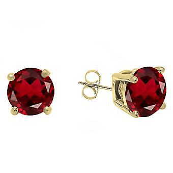 Dazzlingrock Collection 14K 5 MM Each Round Garnet Ladies Solitaire Stud Earrings, Yellow Gold