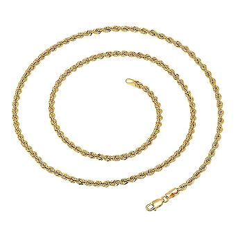 Dazzlingrock Collection 14K Hollow Rope Diamond Cut chain 3.3 mm (22 cale), Yellow Gold