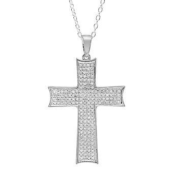 Dazzlingrock kokoelma 0,45 Carat (CTW) 18k pyöreä timantti miesten ' s Cross riipus 1/2 CT (hopea ketju mukana), valkoinen kulta