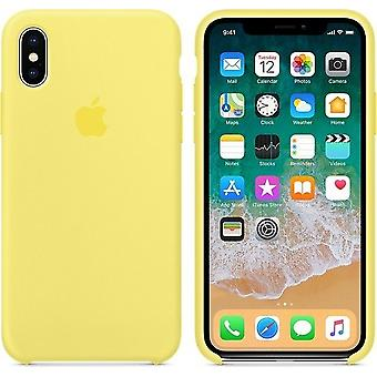 Original Packed MR6E2ZM/A Apple Silicone Microfiber Cover Case for iPhone X - Yellow (flash)