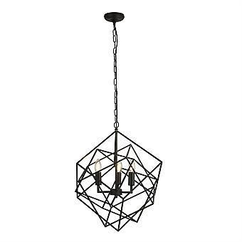 Searchlight Cube 3 Light Cage Pendant Noir 7863-3BK